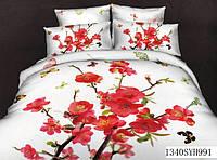 Комплект постельного белья, красные цветы
