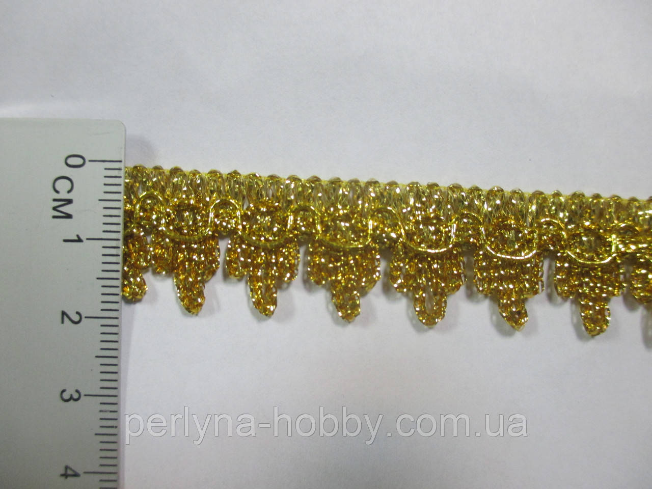 Тесьма декоративная золотая Тасьма декоративна люрекс золото зубчики 1.8см