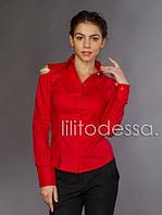Рубашка с открытыми плечами красный, фото 1
