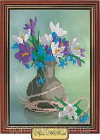 """Схема бисером """"Нарциссы и фиалки в вазе"""""""