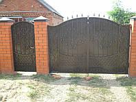 Кованые ворота с калиткой. Установка. Ручная ковка. Замок в калитку. Покраска с гарантией.