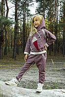 Костюм трикотажный для девочки бордо меланж 4-8 лет размер 110-128