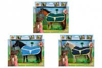 Лошадка с попоной и аксессуарами, 25 см, 3 вида, 3+