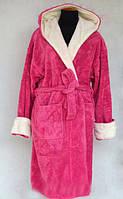Махровый женский халат с поясом