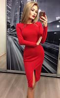 Платье с разрезом, красный