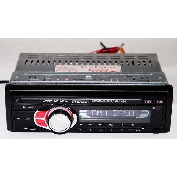 Автомагнитола Pioneer 1081 съемная панель ISO cable USB флешки + SD карты памяти + AUX + FM (4x50W)