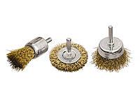 "Набор щеток для дрели, 3 шт., 1 плоская, 50 мм, + 2 ""чашки"", 25-50 мм, со шпильками, мет. // MTX 744869 74486"