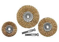 Набор щеток для дрели, 3 шт., 3 плоские, 50-63-75 мм, со шпильками, металлические// MTX 74490 744909