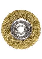 Щетка для УШМ, 150 мм, посадка 22,2 мм, плоская, латунированная витая проволока // MTX 74664 746649