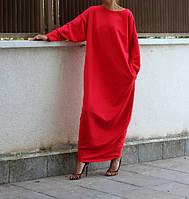 Трикотажное красное платье макси свободный силуэт, фото 1