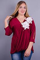 Ланвин. Нарядная блуза больших размеров.  Бордо.