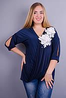 Ланвин. Нарядная блуза больших размеров.  Синий., фото 1