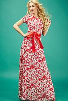Длинное летнее платье из шифона красного цвета