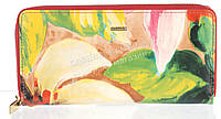 Оригинальный прочный женский кожаный кошелек барсетка высокого качества H.VERDE art.2480-D85 цветы