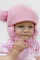 Детская шапка для девочки розовая с помпонами