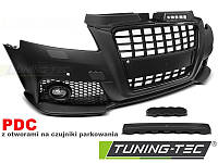 Передний бампер тюнинг обвес Audi A3 8P в стиле S8 черная реш с PDC