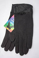 Женские трикотажные перчатки с гипюровой окантовкой