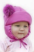 Детская шапка для девочки малиновая с помпонами