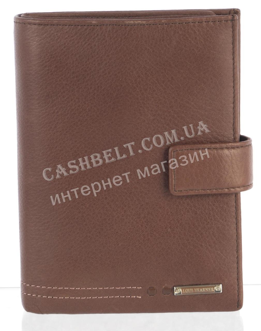 Элитное стильное кожаное мужское портмоне с документницей из мягкой кожи Loui Vearner art. LOU-4204M коричнев