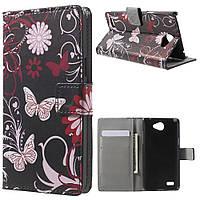 Чехол книжка PC Wallet Printing для LG Max X155 Butterflies Flowers