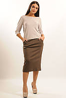 Костюм женский деловой низ юбка верх блуза цвет капучино.