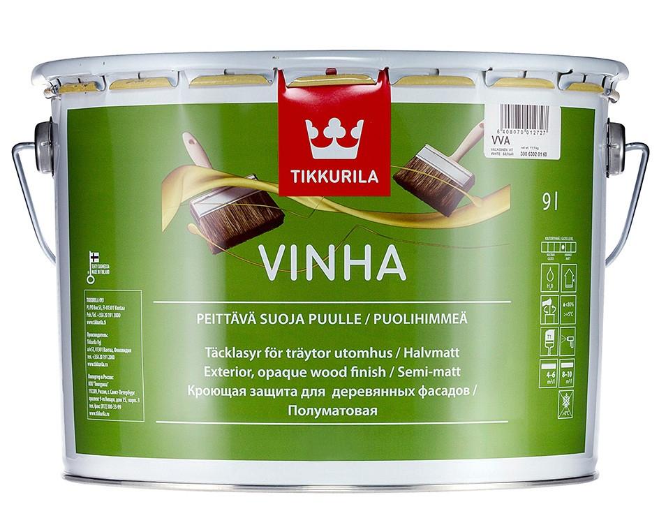 Краска антисептическая TIKKURILA VINHA для деревянных фасадов, VVС-транспарентная, 9л