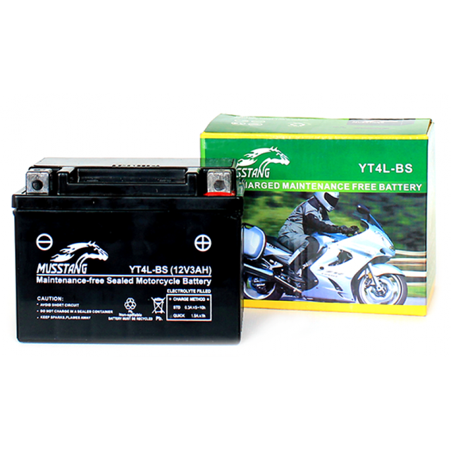 Аккумулятор гелиевый на мотоциклы Alfa/Delta (4 А/ч, YT4L-BS)