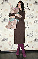 Платье вязанное Настя, вязаное платье косички, фото 1