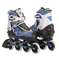 Роликовые коньки детские ZELART FLASH (PL, PVC, колесо PU, алюм. рама, синий)