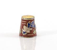 Старый бронзовый наперсток Клуазоне, латунь, бронза, перегородчатая эмаль, рыбы