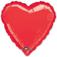 """Шар в форме сердца с гелием 18"""" красный"""