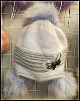 Теплая зимняя детская шапка из ангоры