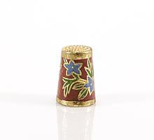 Старый бронзовый наперсток Клуазоне, латунь, бронза, перегородчатая эмаль, цветы