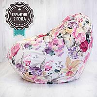 Кресло мешок SanchoBag M 110x80 см Print Print Flowers