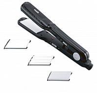 Гофрированные щипцы для волос MAGIO MG-175BL: керамические пластины, 3 насадки, 25 Вт, индикатор