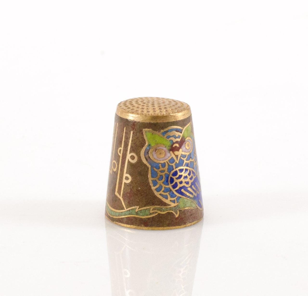 Старый бронзовый наперсток Клуазоне, латунь, бронза, перегородчатая эмаль, Сова