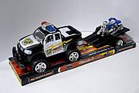 Инерционная машина Полицейский джип с прицепом и мотоциклом