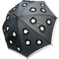 Неповторимый женский зонт-трость автомат DOPPLER 740865F, черный/аппликация