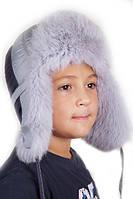Детская шапка-ушанка для мальчика с серым мехом