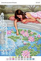"""Схема для частичной вышивки бисером """"Девушка у фонтана"""""""