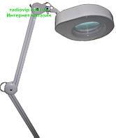 Лупа-лампа с LED подсветкой на струбцине, диопт 5Х, диам-130мм 90LED 7W 8608CL