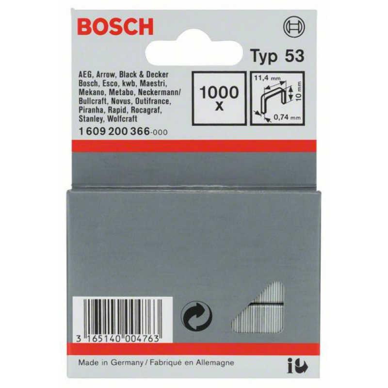 Скрепки Bosch 1000шт 10мм ТИП 53, 1609200366