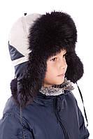Детская шапка-ушанка для мальчика светлая