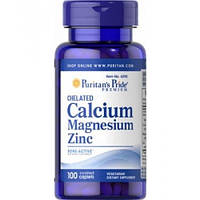 Chelated Calcium Magnesium Zinc Puritan's Pride, 100 капсул
