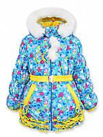 Детская теплая зимняя курточка на овчине для девочки, р.104,110,116,122.