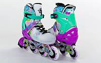 Роликовые коньки детские ZELART SPRING (PL, PVC,колесо PU,алюм. рама,фиолет-зелен)