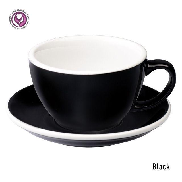 Чашка и блюдце для латте Loveramics Egg Café Latte Cup & Saucer (Black) (300 мл)