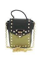 Черная с хаки женская сумочка клатч с шипами
