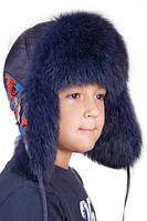 Детская шапка-ушанка синяя