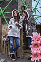 Дубленка замшевая с капюшоном женская Heppi 42–48р. в расцветках остатки